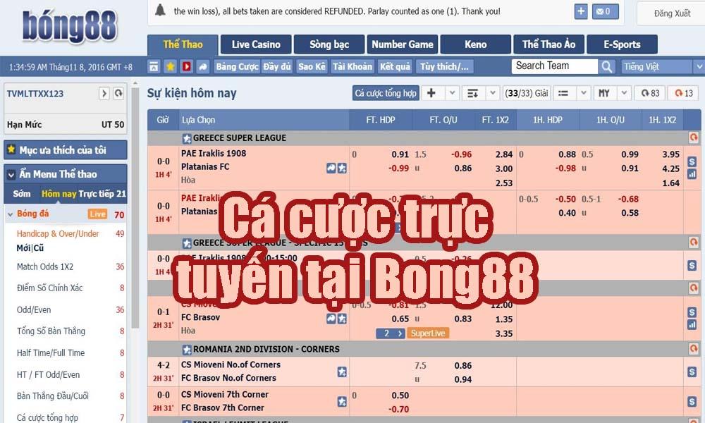 Cá cược trực tuyến tại Bong88